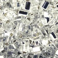 Size 8 Toho Triangle Beads, Crystal Silver Lined (1 ounce)