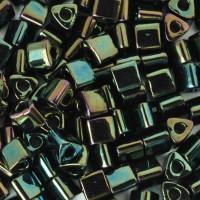 Size 8 Toho Triangle Beads, Metallic Iris Green Brown (1 ounce)