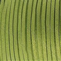Faux Leather Suede Beading Cord, Metallic Peridot Green (10 ft)