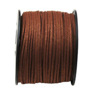 Faux Leather Suede Beading Cord, Metallic Chocolate Brown, (10 feet)