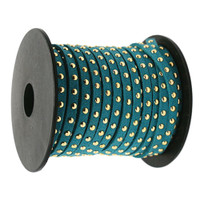 Faux Leather Suede Micro Fiber Cord with Gold Studs (5 Feet) Teal