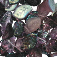 Czech Glass 9x14mm Leaf Bead Mix, Lilac Mix (50)