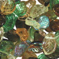 Czech Glass 7x12mm Leaf Bead Mix, Earth Tones Mix (50)