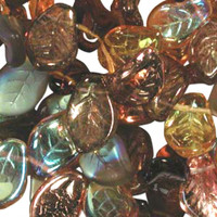 UnCommon Artistry Czech Glass 7x12mm Leaf Bead Mix, Wheatberry Mix (50)