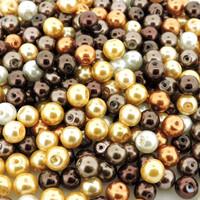 Glass Pearl Mix 100pcs 8mm - Mocha Latte Mix