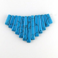 Turquoise Gemstone Fan - Bib - 13 piece Dagger Collar