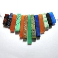 Mixed Stone Gemstone Fan - Bib - 13 piece Dagger Collar