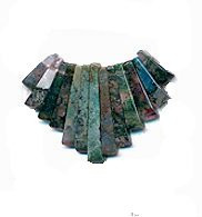 Moss Agate Gemstone Fan - Bib - 13 piece Dagger Collar