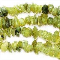 Olive Jade Chips 5-10mm Beads/ 35 Inch Strand