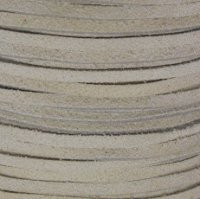 Genuine Split Suede Leather Lace Cord 3mm White