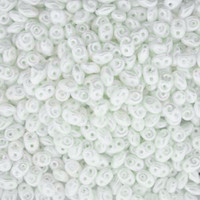 SuperDuo, Czech Glass 2-Hole Seed Beads 5.5x3.5mm, Pastel White, 22 Grams