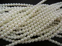 Glass Pearl Beads 75pcs 8mm - White