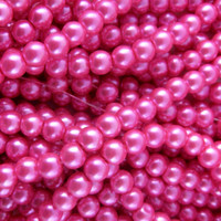 Glass Pearl Beads 75pcs 8mm - Hot Pink