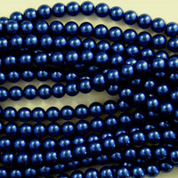 Glass Pearl Beads  8mm - Royal Montana Blue 75pcs