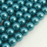 Glass Pearl Beads 100pcs 8mm - Teal Blue