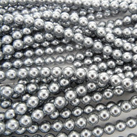 Glass Pearl Beads 100pcs 8mm - Silver
