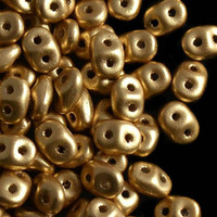 SuperDuo, Czech Glass 2-Hole Seed Beads 5.5x3.5mm, Crystal Bronze Gold, 22 Grams
