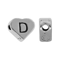 "Sterling Silver 7x6mm Alphabet Heart Bead Letter ""D"""