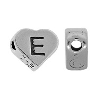 "Sterling Silver 7x6mm Alphabet Heart Bead Letter ""E"""