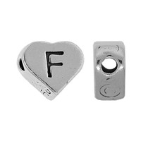 "Sterling Silver 7x6mm Alphabet Heart Bead Letter ""F"""
