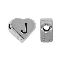 "Sterling Silver 7x6mm Alphabet Heart Bead Letter ""J"""