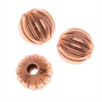 Copper Plated Corrugated Round Beads 6mm (50)
