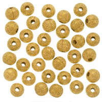 22K Gold Plated Stardust Sparkle Round Beads 6mm (50)