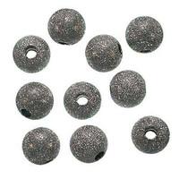 Gun Metal Plated Stardust Sparkle Round Beads 10mm (25)