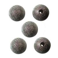 Gun Metal Plated Stardust Sparkle Round Beads 14mm (10)