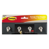 Decorative Key Rail, 8w x 1 1/2d x 2 1/8h, Black/Silver, 4 Hooks/Pack