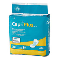 "Capri Plus Bladder Control Pads, Extra Plus, 6 1/2"" x 13 1/2"", 28/Pack, 6/Carton"