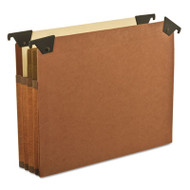 "3 1/2"" Hanging File Pockets with Swing Hooks, 1/5 Tab, Letter, Brown, 5/Box"