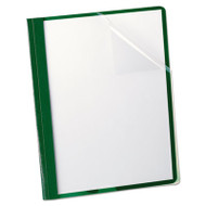 "Clear Front Report Cover, 3 Fasteners, Letter, 1/2"" Capacity, Green, 25/Box"