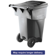 Brute Rollout Heavy-Duty Waste Container, Square, Polyethylene, 95gal, Gray