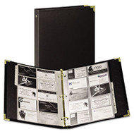 Classic Vinyl Business Card Binder, 200 Card Cap, 2 x 3 1/2 Cards, Ebony