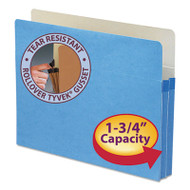 "1 3/4"" Exp Colored File Pocket, Straight Tab, Letter, Blue"