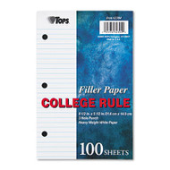 Filler Paper, 3H, 20 lb, 5 1/2 x 8 1/2, College Rule, White, 100 Sheets/Pack