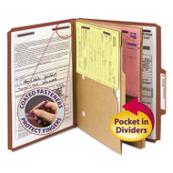 Pressboard Folders with Two Pocket Dividers, Letter, Six-Section, Red, 10/Box
