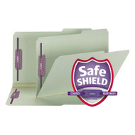 Two Inch Expansion Fastener Folder, 2/5 Right Tab, Legal, Gray Green, 25/Box