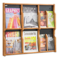 Expose Adj Magazine/Pamphlet Six Pocket Display, 29-3/4w x 26-1/4h, Medium Oak
