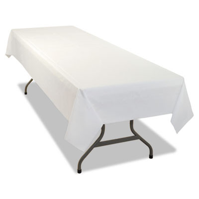 Rectangular Table Cover, Heavyweight Plastic, 54 x 108, White, 6/Pack, 4PK/CT