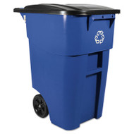 Brute Rollout Container, Square, Plastic, 50 gal, Blue