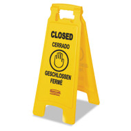 "Multilingual ""Closed"" Sign, 2-Sided, Plastic, 11w x 1.5d x 26h, Yellow"