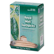 "Mint Cello-Wrapped Wood Toothpicks, 2 3/4"", Natural, 1000/Box, 15 Boxes/Carton"