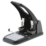 "100-Sheet Extra Heavy-Duty Two-Hole Punch, 9/32"" Holes, Black/Gray"