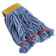 Swinger Loop Shrinkless Mop Heads, Cotton/Synthetic, Blue, Small, 6/Carton