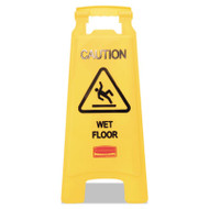 """Caution Wet Floor"" Floor Sign, Plastic, 11 x 1 1/2 x 26, Bright Yellow, 6/Ctn"