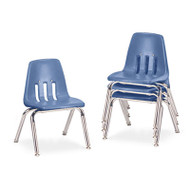 """9000 Series Classroom Chairs, 12"""" Seat Height, Blueberry/Chrome, 4/Carton"""