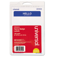 """Hello"" Self-Adhesive Name Badges, 3 1/2 x 2 1/4, White/Blue, 100/Pack"