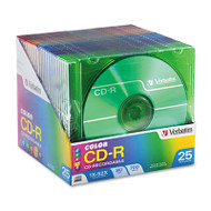 CD-R Discs, 700MB/80min, 52x, Slim Jewel Cases, Assorted Colors, 25/Pack